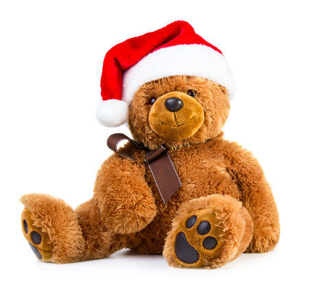 Photo pour Teddy bear wearing a santa hat isolated on white background - image libre de droit