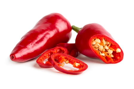 Photo for Red hot pepper with slices isolated on white background - Royalty Free Image
