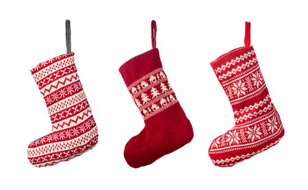 Photo pour Red Christmas stocking isolated over white background - image libre de droit