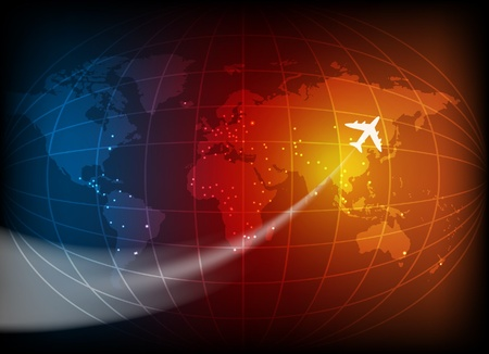 Business background with map of the world and airplane