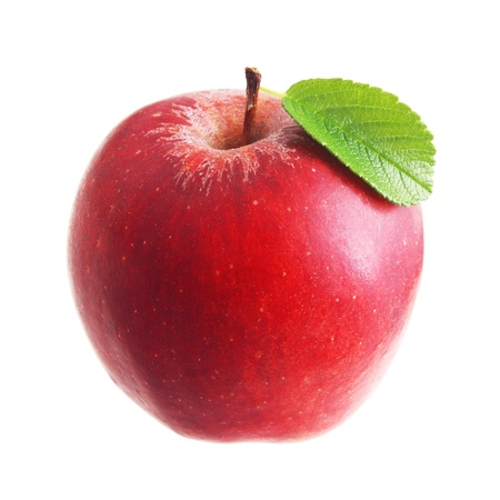 Photo for Red apple with leaf isolated - Royalty Free Image