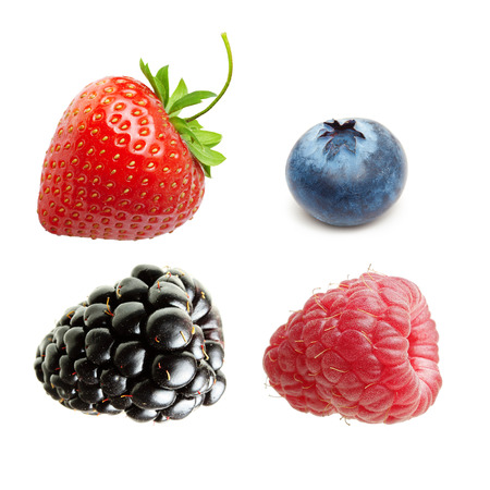 Photo for Raspberry, Strawberry, Blueberry, Blackberry  Isolated on White Background - Royalty Free Image