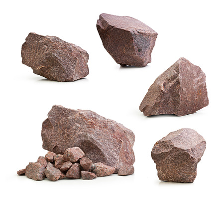Photo for Granite stones, rocks set isolated on white background - Royalty Free Image