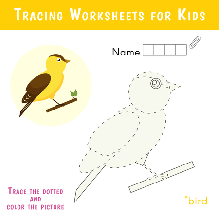 Ilustración de Tracing Worksheets for Kids. Educational Game for Preschool Children. Crossword puzzle. Cute bird. - Imagen libre de derechos