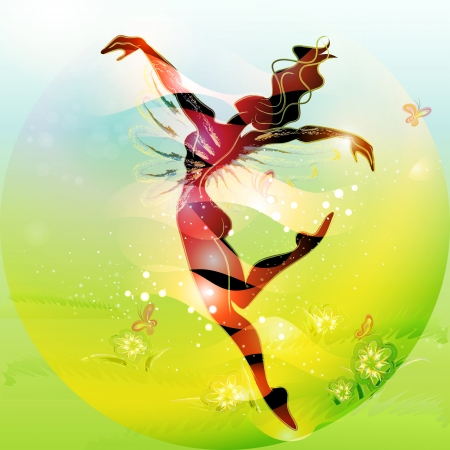 Illustration pour Spring Fairy Tale  young woman dansing in spring time  - image libre de droit