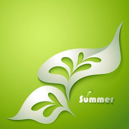 Ilustración de Abstract paper leaf with green elements - Imagen libre de derechos