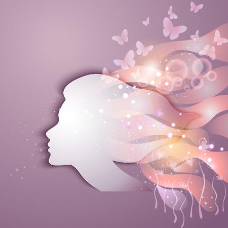Illustration pour Beautiful young woman with flowers - image libre de droit