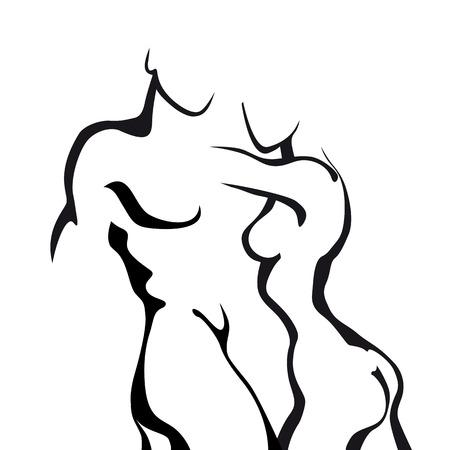 Ilustración de Abstract sketch couple in love. Woman and man body. - Imagen libre de derechos