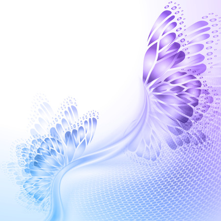Ilustración de Abstract wave blue purple background with butterfly wings - Imagen libre de derechos