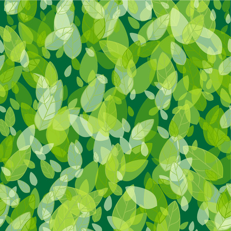 Illustration for Seamless background with spring green leaves. Vector illustration - Royalty Free Image
