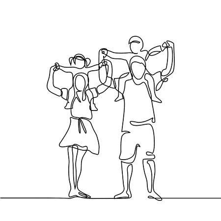 Illustration pour Continuous line drawing vector illustration. Happy family with children on shoulders - image libre de droit