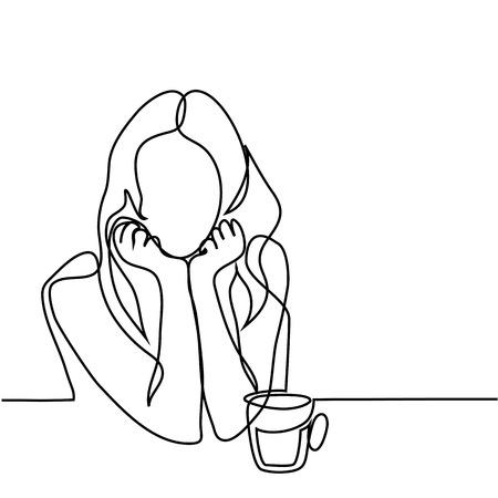 Illustration pour Continuous line drawing. Abstract portrait of a woman with cup of tea. Vector illustration. - image libre de droit