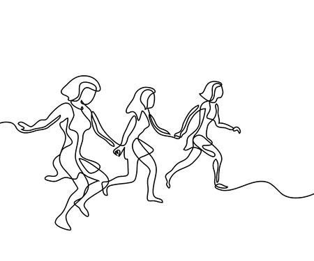 Illustration pour Running girls have joy in summer time. Continuous line drawing. Vector illustration on white background - image libre de droit