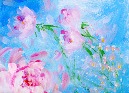 Foto de Blooming pink peonyon blue background. Oil painting on canvas - Imagen libre de derechos