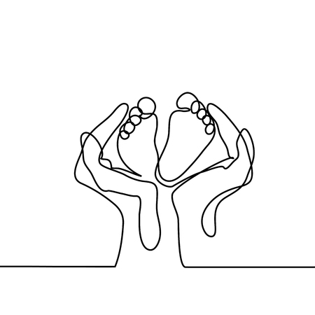 Photo pour Hands holding baby foot - protection symbol. Continuous line drawing. Vector illustration on white background - image libre de droit
