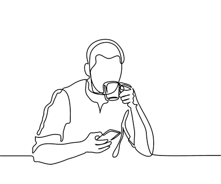 Illustration pour Young man browsing cell phone and drinking coffee. Continuous line drawing. Vector illustration - image libre de droit