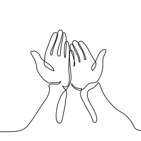 Ilustración de Hands palms together. Continuous line drawing. Vector illustration - Imagen libre de derechos