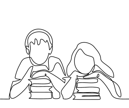 Illustration for Kids with books. Back to school concept. Continuous line drawing. Vector illustration on white background - Royalty Free Image