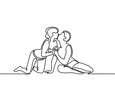 Photo pour Young couple in love kissing on the beach. Continuous line drawing. Vector illustration. - image libre de droit