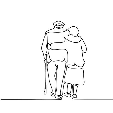 Illustration pour Continuous line drawing. Happy elderly couple hugging and walking. Vector illustration - image libre de droit