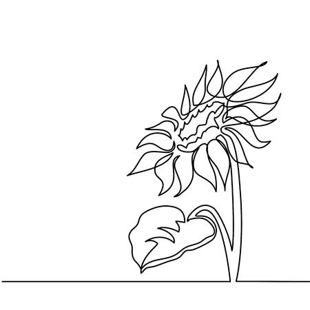 Ilustración de Beautiful sunflower. Continuous line drawing. Vector illustration - Imagen libre de derechos