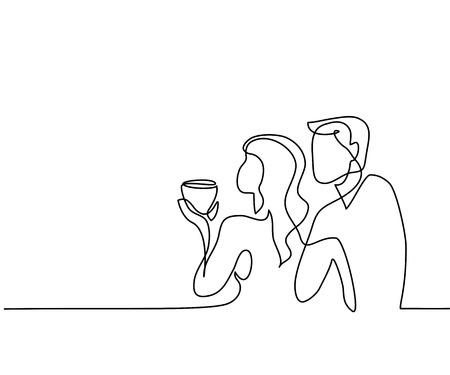 Ilustración de Continuous line drawing. Young couple drinking coffee. Vector illustration - Imagen libre de derechos