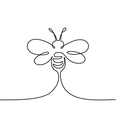 Ilustración de Continuous one line drawing. Flying bee logo. Black and white vector illustration. Concept for logo, card, banner, poster, flyer - Imagen libre de derechos