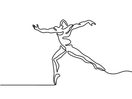 Illustration pour Continuous Line Art Drawing - Ballet Dancer man. - image libre de droit