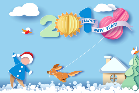 Ilustración de Paper cut design and craft winter landscape with christmas tree, birds, dog and digit 2018. Holiday New year and Merry Christmas card. Vector illustration - Imagen libre de derechos