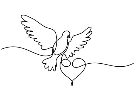 Ilustración de Continuous one line drawing. Flying pigeon with heart Valentine Day logo. - Imagen libre de derechos