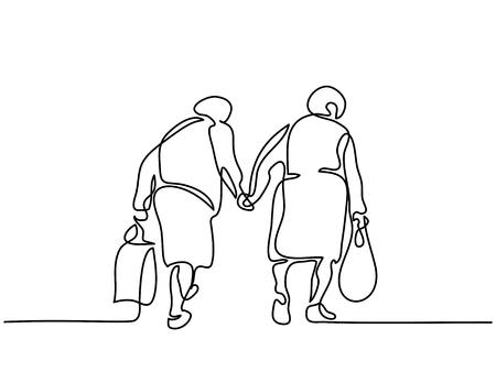 Foto de Continuous line drawing. Elderly women friends walking. Vector illustration - Imagen libre de derechos