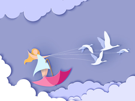 Illustration for Valentines day card. Abstract background with happy girl flying on umbrella with swans and blue sky. Vector illustration. Paper cut and craft style. - Royalty Free Image