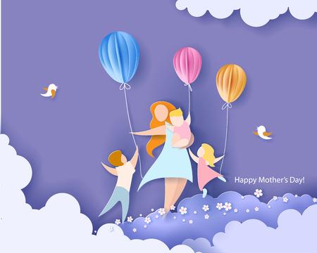 Ilustración de Beautiful women with her children. Happy mothers day card. Paper cut style. Vector illustration - Imagen libre de derechos