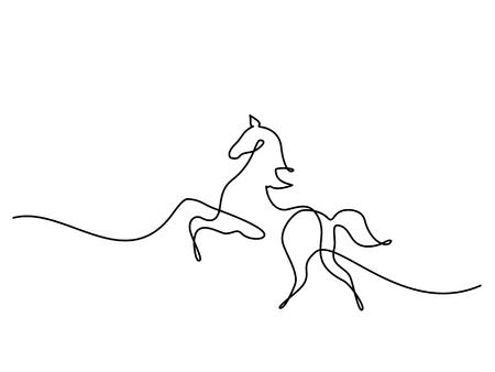 Ilustración de Continuous one line drawing. Horse logo. Black and white vector illustration. Concept for logo, card, banner, poster, flyer - Imagen libre de derechos