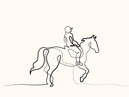 Illustrazione per Continuous one line drawing Horse and rider on horseback - Immagini Royalty Free