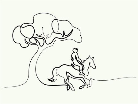 Illustrazione per Continuous one line drawing. Horse and rider on horseback under tree. Black and white vector illustration. Concept for logo, card, banner, poster, flyer - Immagini Royalty Free