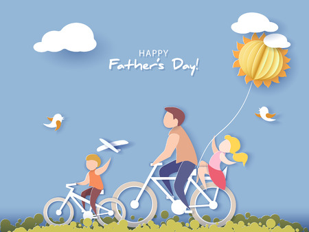 Ilustración de Handsome man and his children bicycling with air balloon. Happy fathers day card. Paper cut style. Vector illustration - Imagen libre de derechos