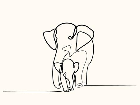 Illustration pour Continuous one line drawing. Elephant with baby symbol. - image libre de droit