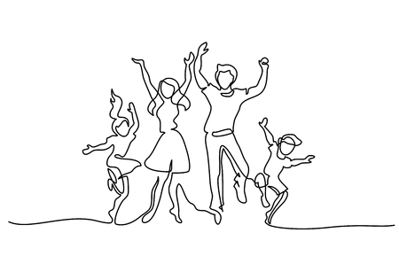 Illustration pour Continuous one line drawing. Happy family mother and father dancing with children. Vector illustration. Concept for logo, card, banner, poster, flyer - image libre de droit
