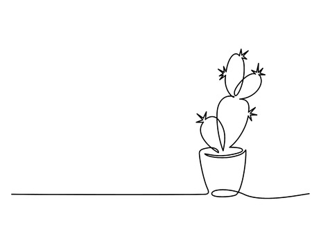 Ilustración de Continuous one line drawing. House cactus in pot. Vector illustration - Imagen libre de derechos