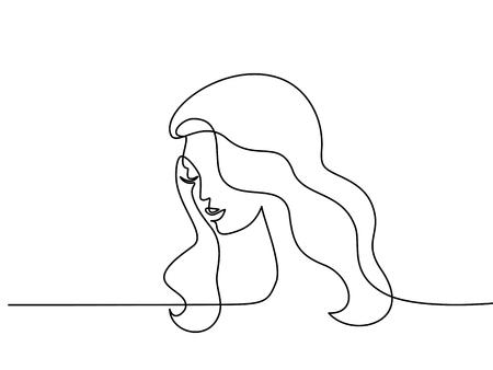 Ilustración de Continuous one line drawing. Abstract portrait of pretty young woman with beautiful hair. Vector illustration - Imagen libre de derechos