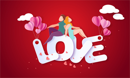 Illustration pour Valentines day card with couple sitting and holding hands on big letters with red background. Vector paper art illustration. Paper cut and craft style. - image libre de droit