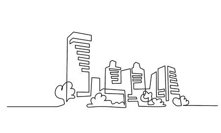 Illustration pour Continuous one line drawing. Building Cityscape Line Art Silhouette. Vector illustration - image libre de droit