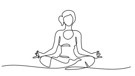 Ilustración de Continuous one line drawing. Woman sitting cross legged meditating. - Imagen libre de derechos