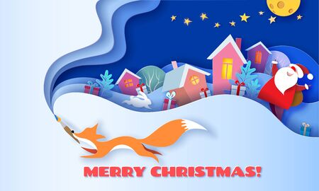 Illustration pour Horizontal banner Merry Christmas. Fox running with brush on blue background and multi layered shapes with trees and village. 3D paper cut art style. Vector illustration. - image libre de droit