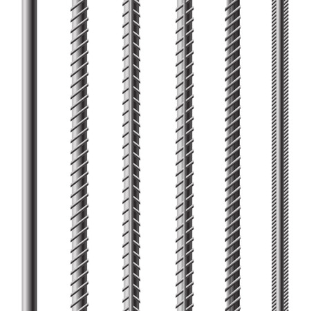 Illustration pour Rebars, Reinforcement Steel Isolated on White Background. Construction Metal Armature. - image libre de droit