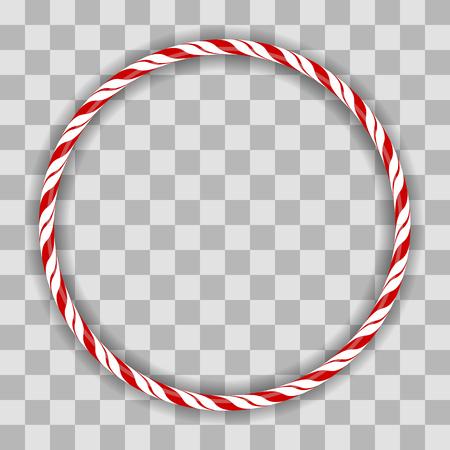 Ilustración de Sweet Striped Candy Circle Frame on Checkered Background - Imagen libre de derechos