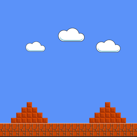 Illustration for Old Game Background. Classic Retro Arcade Design with Clouds and Brick - Royalty Free Image