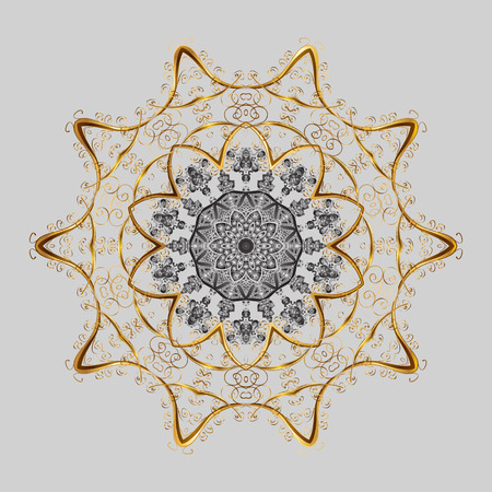 Illustration pour Abstract winter gray, brown and beige ornament, Round vector snowflake Isolated cute snowflakes on colorful background. - image libre de droit
