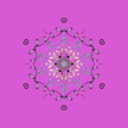 Illustration pour Round vector snowflake. Isolated cute snowflakes on colorful background. Fine snowflake. Abstract winter violet, gray and blue ornament. - image libre de droit